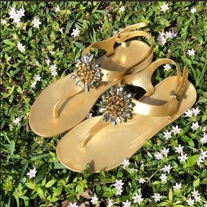 3/$30 Coach Gold Thong Sandals